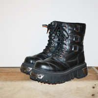 Vintage 90s T.U.K Anarchic Punk Gothic Black Lace up Boots Goth Grunge Punk Boots Size Men's 8