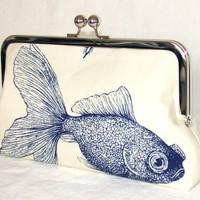 Clutch Purse Kisslock Handbag Goldfish by kyooziAccessories