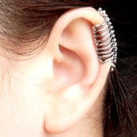 Dinosaur Fossil Skeleton Ear Cuff (Single, No Piercing)