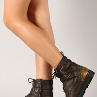 Qupid Newbie-08 Studded Strappy Lace Up Military Bootie