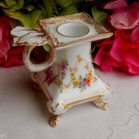 Beautiful Antique Hirsch Dresden Porcelain Candle Holder ~ Flowers ~ Gold