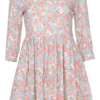 ROMWE Half sleeved Floral Print Green Dress
