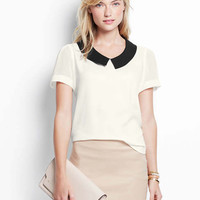Contrast Collar Short Sleeve Top