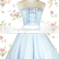 Strapless Pintucks Cotton Sweet Lolita Dress [T110713] - $82.00 : Cosplay, Cosplay Costumes, Lolita Dress, Sweet Lolita