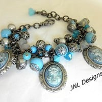 Turquoise,Gunmetal,and Cameo Adjustable Charm Bracelet
