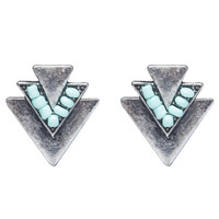 Tribal Bead & Metal Button Earrings | Wet Seal