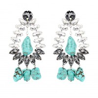 BRAICCA CRYSTAL-EMBELLISHED TURQUOISE CLIP-ON EARRINGS