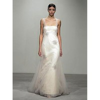 Empire Square Chapel train Satin wedding dress for brides 2011 style(WDA0549) - Empire - Wedding Dresses