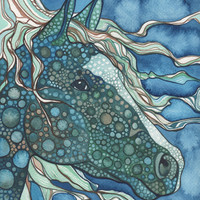 Midnight HORSE 8.5x11 print of detailed watercolour artwork in rich blue green aqua teal olive turquoise colours whimsical moonlight dragon
