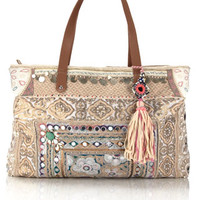 Pearl Mirror Work Tote Bag | Cream | Accessorize
