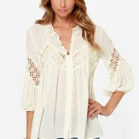 Billow Talk Sheer Cream Lace Top