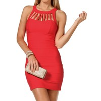 Watermelon Cage Banded Dress