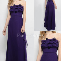 Vintage Purple Bridesmaid Dress Along With Ruffle Edge Natural Style Sexy Strapless