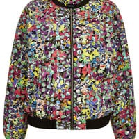 Pop Flower Print Bomber