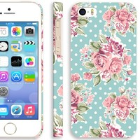 Akna Retro Floral Series Vintage Flower Pattern Semi-soft Back Case for iPhone 5 5S [Polka Rose]
