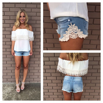 Love & Lace Denim Shorts