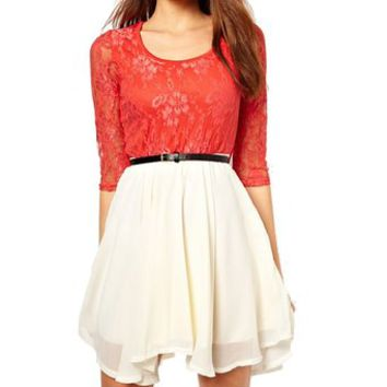 Fashion Womens Lace Contrast Half Sleeve Chiffon Free Belt Dress Lady One-piece