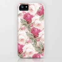 Roses floral pattern iPhone & iPod Case by Mercedes