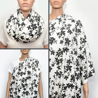 Dark grey flowers Nursing Scarf -  Nursing Cover - Nursing Cover Scarf -  Nursing Infinity Scarf - Infinity Scarf