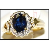 Unique Diamond Solitaire Blue Sapphire Ring 18K Yellow Gold [RS0156]