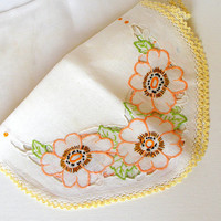 Vintage Linen Table Runner. Dresser Scarf. Hand Embroidered Flowers. Orange. Yellow. Green