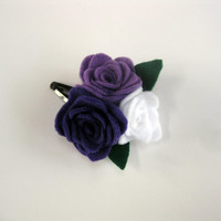 Purple and White Felt Flower Hair Clip, Girl's Hair Clip
