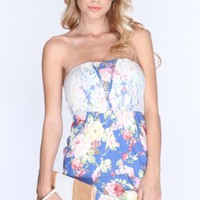 Blue Denim Floral Print Tulip Sexy Party Dress