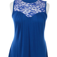 Plus Size See Through Lace Sleeveless Blue Blouse, Plus Size Clothing, Club Wear, Dresses, Tops, Sexy Trendy Plus Size Women Clothes