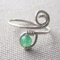 Jade Wrapped Hammered Silver Wire Spiral Toe Ring Adjustable Size