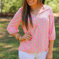 Touch Of Gold Top, Pink/Taupe