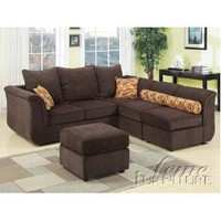 Acme 15230 Caisy Chenille Fabric Sectional Sofa Set, Chocolate Finish