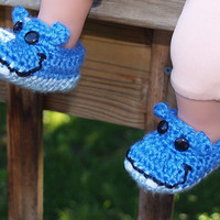Hippo Booties 0 3 month size by staceyLynnCreates on Etsy