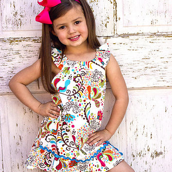 White & Teal Floral Bird Peasant Dress - Toddler & Girls | something special every day
