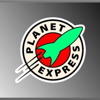 "Futurama Planet Express Logo Vinyl Decal Bumper Sticker Frenzy 4""x4"""