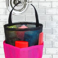 Dorm Shower Caddy - Large Black & Pink - By Saltwater Canvas