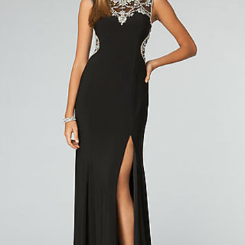 High Neck Gown with Sheer Back JVN by Jovani