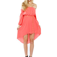 Papaya Clothing Online :: OPEN SHOULDER BELTED CHIFFON DRESS