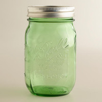 1-PINT GREEN HERITAGE BALL JARS, SET OF 6