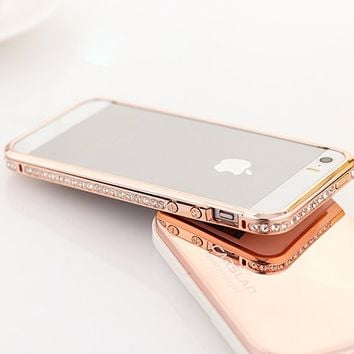 Moon Monkey Diamond Crystal Bling Aluminum Metal Bumper Hard Gold Case Cover for Iphone 5 5s (Pink)
