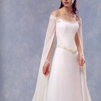 Buy Stunning A-line Chiffon & Lace Off-the-shoulder Floor Length Wedding Dress With Sweep Train