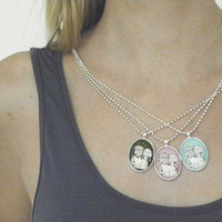 Pendant Art to wear Sisters mother daughter Gemini by LouisestArt