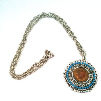 Vintage Indian Head Penny and Turquoise Pendant on Chain
