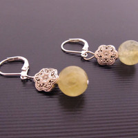 Natural Prehnite Earrings - Yellow, Natural Stone, Wedding, Bridesmaid, Prom