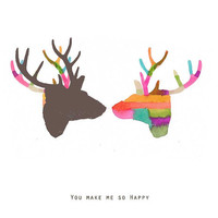 You make me so happy Fine Art print Giclee Antlers by LouisestArt