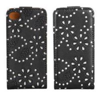 Black Magnet Flip Leather Diamond Flower Case Cover for iPhone 4 4S