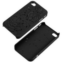 Black 3D Sculpture Rose Flower Floral Case Cover Skin for IPHONE 4 4S