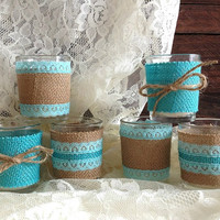 burlap and lace tiffany blue votive tea candles, wedding, bridal shower, tea party, birthday decoration candles