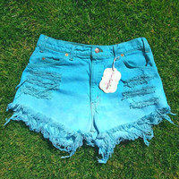 teal ombre distressed high waisted shorts by WestCoastCuties