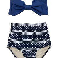 Blue Bow Top and Navy Blue Stripe Polka dot High waisted waist Shorts Bottom Two piece Bikini Swimsuit Swimwear Swim Bathing suit suits S M