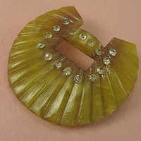 Art Deco Carved Celluloid Brooch | AVintageJourney - Jewelry on ArtFire